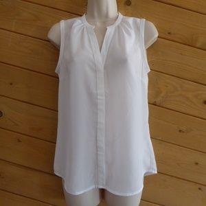 H&M White Button Up Sleeveless Sheer Shirt NWT
